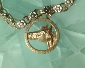"""CAVIAR DREAMS - Vintage Yellow Gold Filled Alice Caviness Horse Charm Floral Bracelet - 7"""" - Etsy andersonhs"""