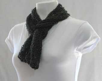 Hunter Green Shawl Scarf, Knitted Beaded Scarf, Beaded Shawl, Beaded Scarf, Knitted Shawl, Knitted Scarf, Green Knitted Scarf