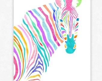 Colorful Zebra - Art Poster Print - Art Print Illustration