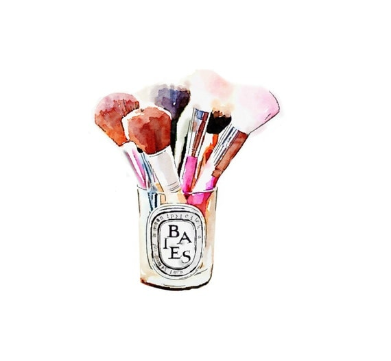 Diptyque Candle Makeup Brush Holder Print from Watercolor Painting ...