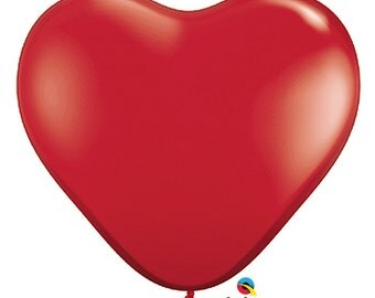 "RUBY Red HEART Shape 11"" latex Balloon, Trendy, Alice in Wonderland, Wedding, Birthday,LoVe, Shades of Grey, Table Decor DIY party Supplies"