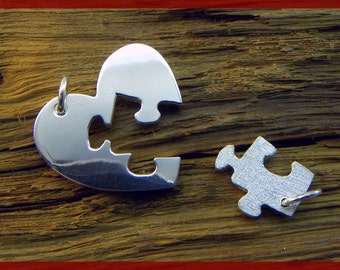 Double Pendant, Heart / Key - Silver 925