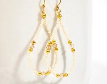 Sparkly Cream Earrings - Vanilla Hoop Earrings - Beaded Earrings Beige