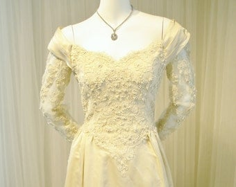 Vintage Beaded Ivory Off the Shoulder Wedding Gown in William Cahill Style