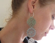 Filigree Hoop Earrings, Dangle Earrings, Sterling Silver hoops, Mixed filigree Earrings,