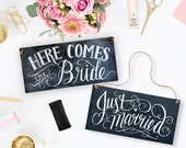 Here Comes The Bride Sign - Double Sided - Just Married Sign - Wedding Chalkboard - Wedding Ceremony Sign - Chalkboard Sign