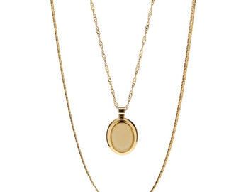 Gold layering necklace delicate set of two oval pendant everyday chain necklace 24k gold plated chain jewelry.