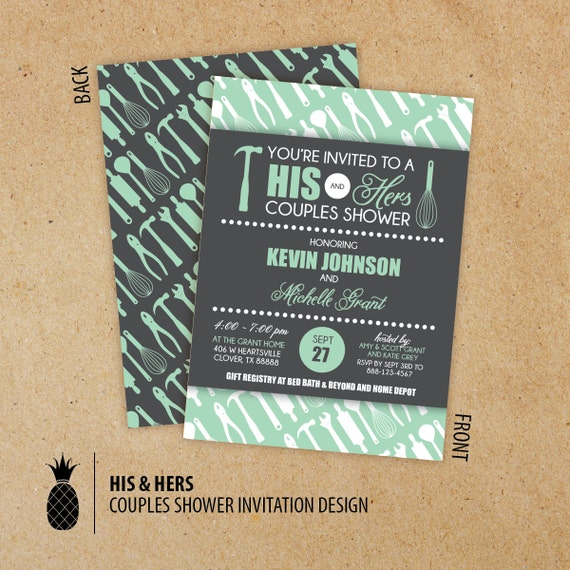 His Hers Wedding Invitations Templates: His & Hers Couples Shower Invitations