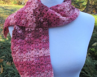 Crocheted Scarf in Rose, Pink and Red Variegated Multicolored Yarn