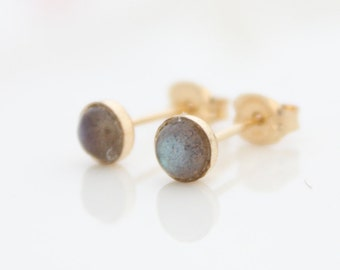 Labradorite stud earrings • gold post earrings set with blue flash labradorite gemstones • Gifts for her