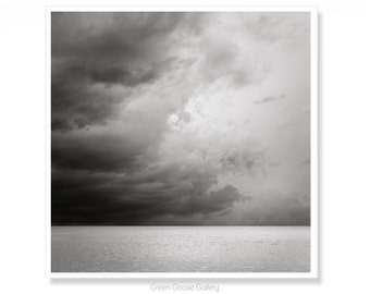 Storm Cloud Art Print, Ocean Photography Wall Decor, Black and White Home Decor, Gift for Him, Salt Life
