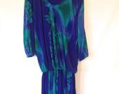 plus size dress / 1980s vintage dress / 1980s plus size dress / 1980s 80s XXL dress / size 20 vintage dress / vintage blue dress