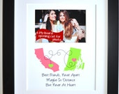 Best Friend Moving Long Distance Gift: Custom Maps Friend Mom Sister Daughter Best Friend Birthday Farewell Gift Lime Coral Picture Present
