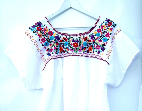Embroidered peasant blouse Women' s mexican flowers top Ladies white blouse with vintage beads and sequins. Boho-chic Hippie, 2XL