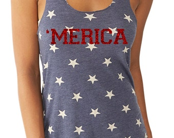 Glitter and Stars MERICA Running  Tank Patriotic Tank    with a sparkly glitter flake decoration