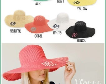 Floppy Hat Sun Beach Hat - 8 Colors Available - Monogram Personalization Available