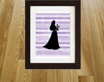 Sleeping Beauty Princess Pixel Print Wall Art