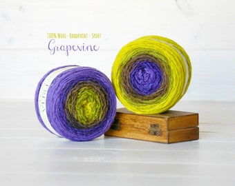 2 Hand Dyed Yarn Balls - 100% Wool - Color:Grapevine Ombre, 1Ply Sport Yarn - Colorful Soft Yarns by Freia - 2 balls - Beautiful Ombre Yarns