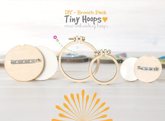 Diy brooch kit mini embroidery hoop frame with back