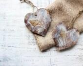 Set of 2 heart ornaments sea nautical off white brown blue rustic sea ocean shells