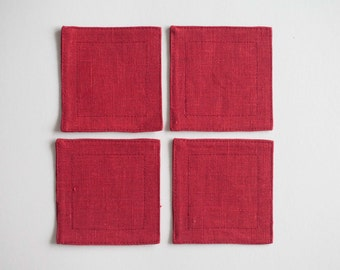Linen coasters - party coasters - set of 4 mug coasters - red small placemats - cocktail napkins