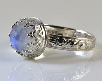 Rainbow Moonstone Ring, Sterling Silver, Faceted Rose Cut Rainbow Moonstone Stone in Crown Setting
