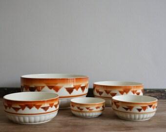 Vintage Ironstone German Nesting Bowls Art Deco Serving Bowl. Country Farmhouse Decor. Set of Ceramic Brown Orange Autumn Fall Colors Bowls.