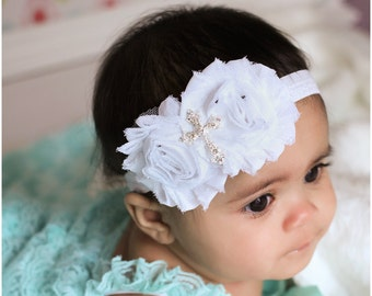 Christening bow, Baby girl Headband, newborn headband, satin rosette baptism, white cross