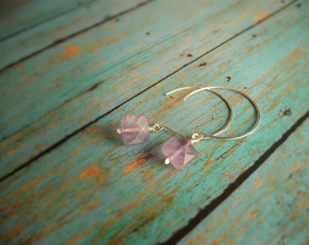 Amethyst and Silver Earrings,  Sterling Silver Gemstone Hoops, Purple Gemstone Drop, Birthstone Jewelry, Faceted Stone, Hammered Silver