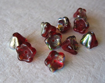 10 pcs Czech glass translucent red and silver luster bell flower beads