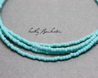 Turquoise Seed Bead Necklace Matte Finish, Single Strand Blue Seed Bead Necklace, Blue Necklace, Long Blue Necklace, Turquoise Necklace