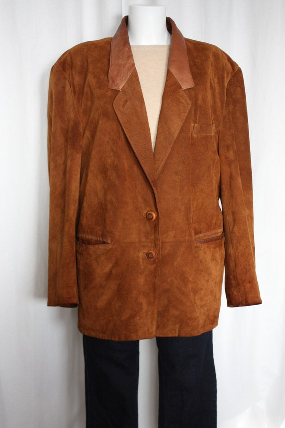Womens Suede jacket cognac nappa leather Fall blazer leather