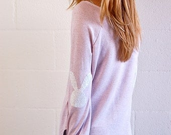 Easter Shirt Sequin Elbow Patch The Bunny Patch Elbow Patch Slouchy Pullover Womens Elbow Patch Spring Fashion Easter Teacher Gift