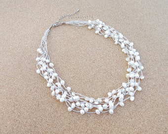 White freshwater pearl necklace on silk thread, Bridal necklace, Wedding jewelry, multistrand necklace