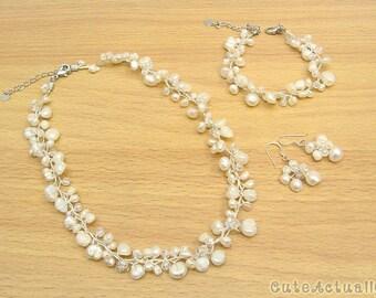 Jewelry set - White freshwater pearl necklace, bracelet, earring, bridal jewelry,wedding jewelry set, white pearl jewelry set