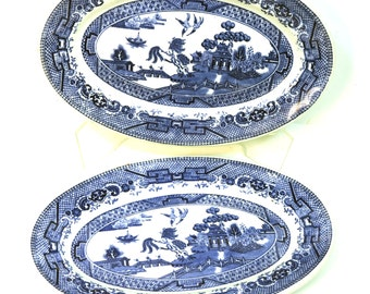 Vintage Blue Willow Hotel Ware Side Platters Plates Pair of Country Bed and Breakfast