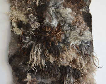 OOAK  large hand made felt fur rug from carded wool and curls 21 exotic  sheep breeds - pet and eco-friendly - any size - to order