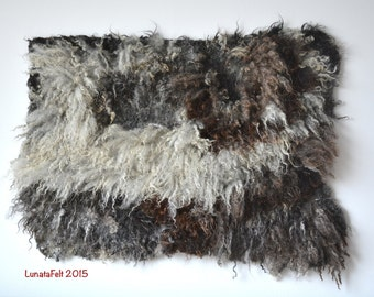 "OOAK hand made felt fur wall decorative wall panel/ rug from carded wool and sheep curls  - pet and eco-friendly - 28""x37"" - ready to ship"
