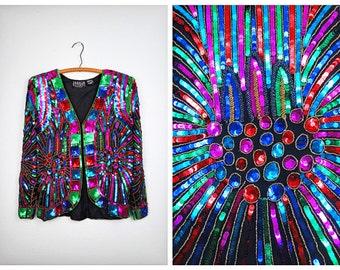 RETRO Starburst Sequin Jacket // Rainbow Sequined Jacket // Fully Embellished Beaded Blazer XL