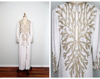 Gold & Silver Pearl Beaded Gown // White and Gold Beaded Dress // Art Deco Wedding Gown