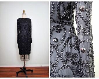 VTG Black Beaded Trophy Dress // Black Silk Beaded Dress // Fully Embellished Little Black Dress Size 8