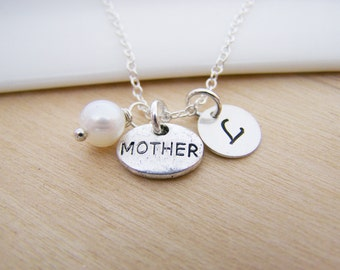 Tiny Mother Charm Swarovski Birthstone Initial Personalized Sterling Silver Necklace / Gift for Her