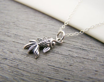 Tiny Sterling Silver Koi Fish Charm Necklace Simple Jewelry Everyday Necklace / Gift for Her