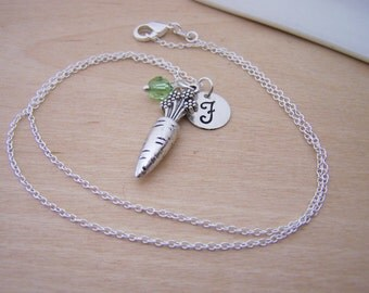 Carrot Charm Swarovski Birthstone Initial Personalized Sterling Silver Necklace / Gift for Her