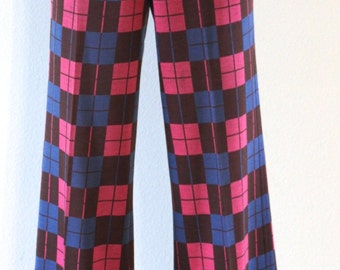 Vintage 1970s Alroe Checkered Colorful Hipster Pants