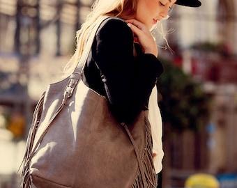 Gray leather bag, Fringe leather purse, Soft leather bag, Large Leather Tote bag, Women bag, Zipper Bag, Handmade Leather Bag, Gray Bag
