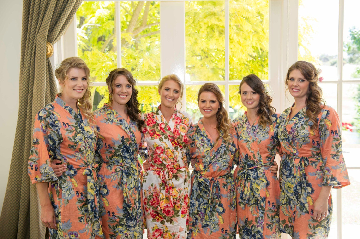 Bridesmaid gift custom kimono crossover floral cotton bridesmaids robes, perfect gift, will you be my bridesmaid, wedding favor