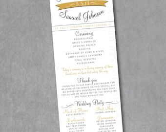modern wedding ceremony program, PRINTABLE