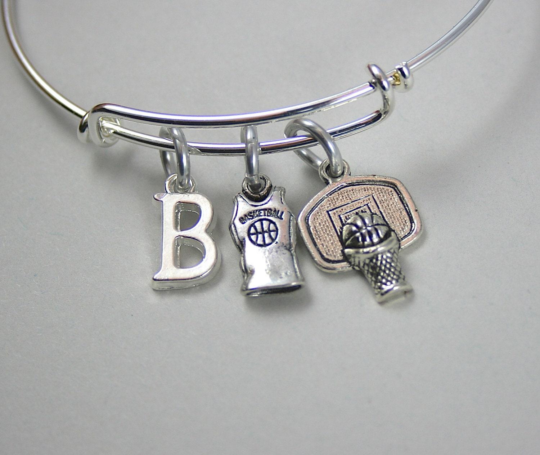 Basketball Charm Bracelet: Basketball Bangle Charm Bracelet Basketball Jersey Team