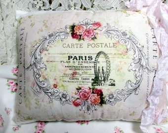 PARIS Pillow,Carte Postale Pillow, French Script, Pink Roses, Shabby FRENCH Pillow  #C22